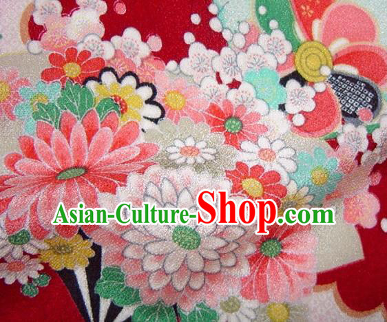 Asian Traditional Classical Flowers Fan Pattern Red Tapestry Satin Brocade Fabric Japanese Kimono Silk Material