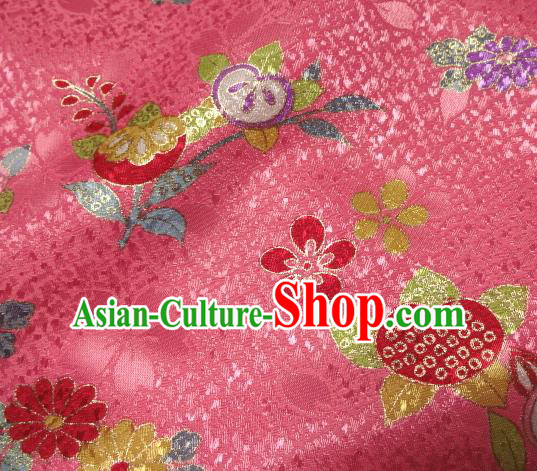 Asian Traditional Kimono Classical Oranger Blossom Pattern Pink Damask Brocade Fabric Japanese Kyoto Tapestry Satin Silk Material