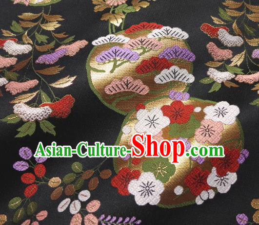 Asian Traditional Baldachin Classical Plum Blossom Pattern Black Brocade Fabric Japanese Kimono Tapestry Satin Silk Material