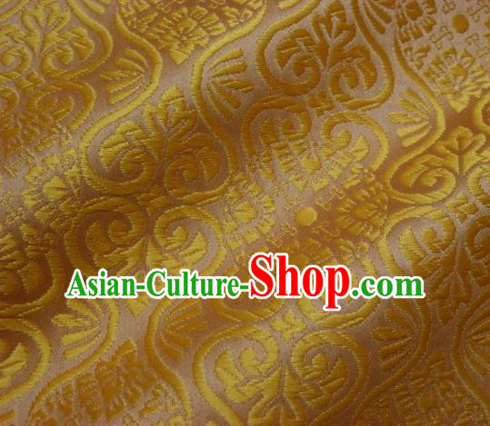 Asian Traditional Kyoto Kimono Brocade Classical Pattern Golden Damask Fabric Japanese Tapestry Satin Silk Material