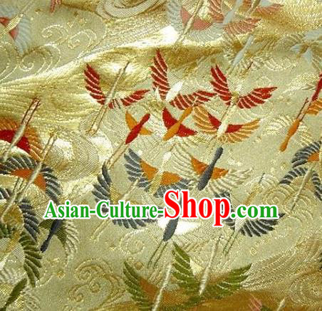 Asian Traditional Japanese Kimono Golden Tapestry Satin Classical Crane Pattern Brocade Fabric Baldachin Silk Material
