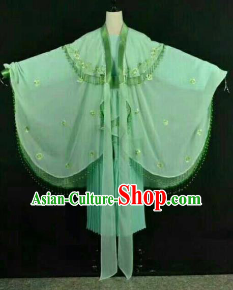 Chinese Traditional Beijing Opera Blues Green Dress Ancient Swordswoman Costume for Women
