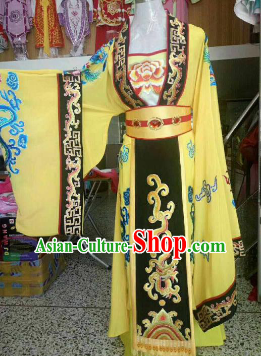 Chinese Traditional Beijing Opera Queen Embroidered Yellow Dress Ancient Empress Costume for Women