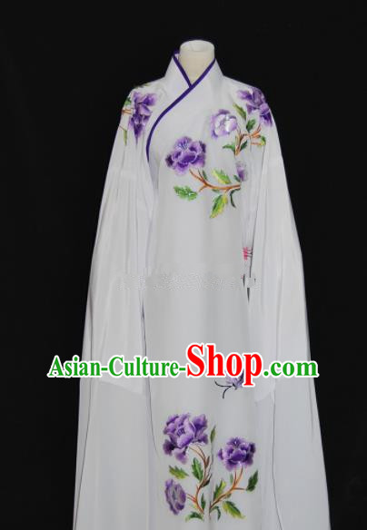 Chinese Traditional Beijing Opera Niche White Robe Peking Opera Scholar Embroidered Costume for Men