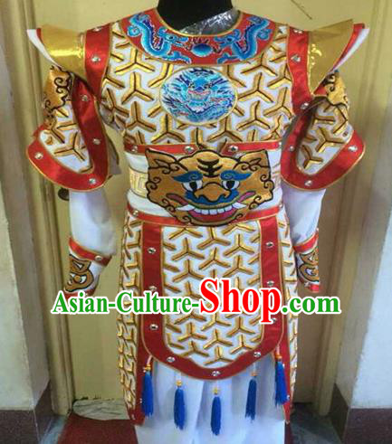 Chinese Traditional Beijing Opera Warrior Embroidered White Clothing Peking Opera Takefu Costume for Men