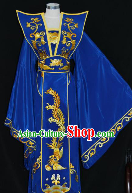 Chinese Traditional Beijing Opera Queen Mother Royalblue Dress Peking Opera Embroidered Costume for Women