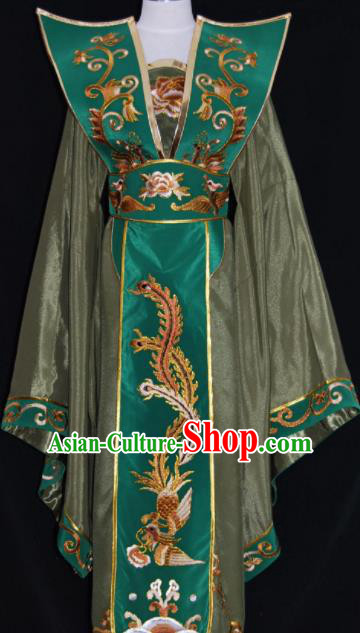Chinese Traditional Beijing Opera Queen Mother Army Green Dress Peking Opera Embroidered Costume for Women