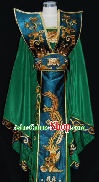 Chinese Traditional Beijing Opera Queen Mother Deep Green Dress Peking Opera Embroidered Costume for Women
