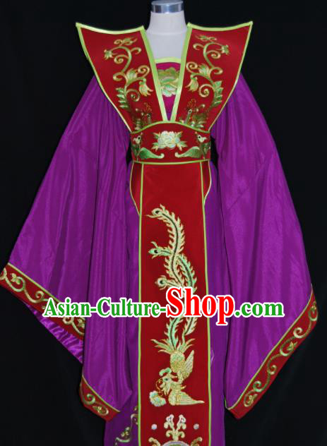 Chinese Traditional Beijing Opera Queen Mother Purple Dress Peking Opera Embroidered Costume for Women