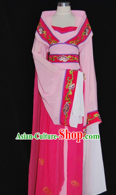 Chinese Traditional Beijing Opera Princess Pink Dress Ancient Peri Embroidered Costume for Women