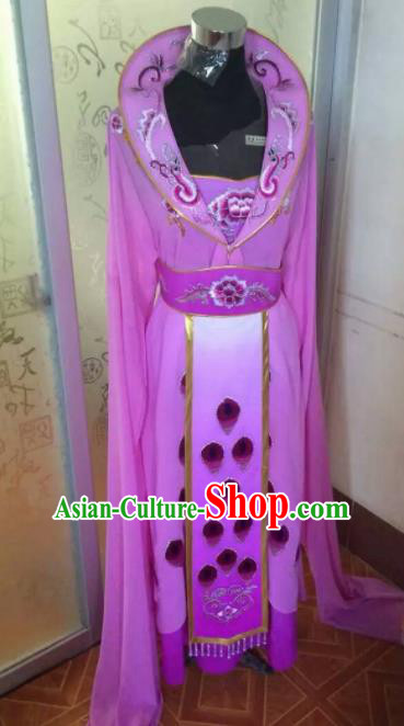 Chinese Traditional Beijing Opera Young Lady Purple Dress Ancient Peri Embroidered Costume for Women