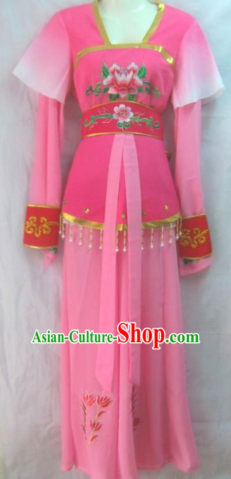 Chinese Traditional Beijing Opera Young Lady Rosy Dress Ancient Court Maid Embroidered Costume for Women