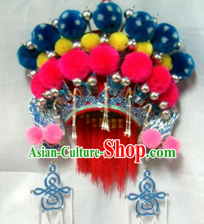 Chinese Traditional Beijing Opera Phoenix Coronet Hair Accessories Ancient Female General Headwear for Women