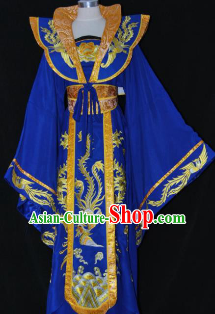 Chinese Traditional Beijing Opera Empress Royalblue Dress Ancient Queen Embroidered Costume for Women