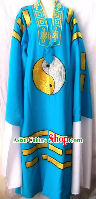 Chinese Traditional Beijing Opera Taoist Priest Embroidered Blue Robe Peking Opera Costume for Men