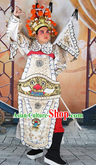 Chinese Traditional Beijing Opera Takefu Clothing Ancient General White Costume for Men