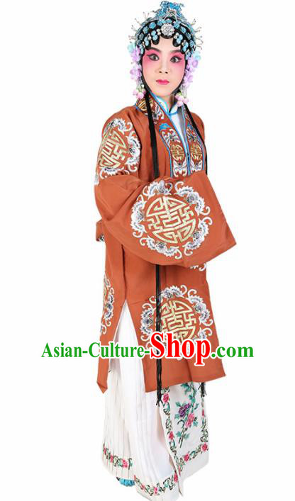 Chinese Traditional Beijing Opera Pantaloon Orange Dress Ancient Landlord Shiva Embroidered Costume for Women
