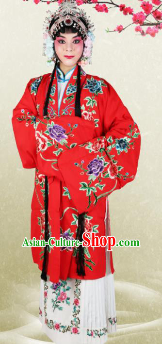 Chinese Traditional Beijing Opera Princess Red Dress Ancient Palace Lady Embroidered Costume for Women