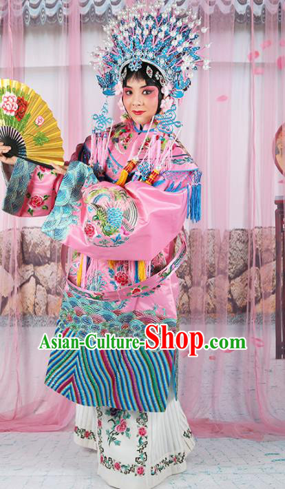 Chinese Traditional Beijing Opera Queen Pink Embroidered Robe Ancient Palace Lady Costume for Women