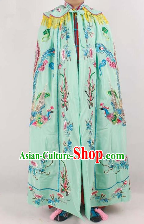 Chinese Traditional Beijing Opera Diva Embroidered Green Cloak Ancient Imperial Concubine Costume for Women