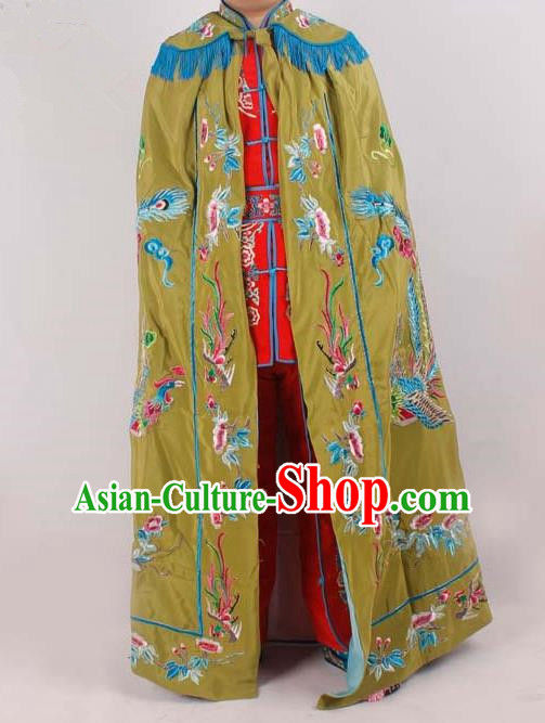 Chinese Traditional Beijing Opera Diva Embroidered Olive Green Cloak Ancient Imperial Concubine Costume for Women
