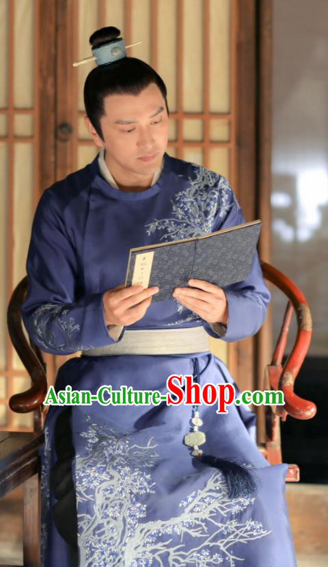 Chinese Song Dynasty Nobility Childe Clothing Drama The Story Of MingLan Ancient Scholar Replica Costume for Men