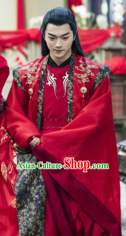Chinese Ancient Swordsman Knight Drama Zhao Yao Wedding Embroidered Replica Costume for Men