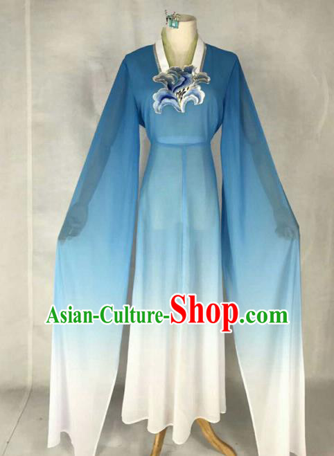 Chinese Traditional Beijing Opera Court Lady Embroidered Blue Dress Ancient Peri Costume for Women