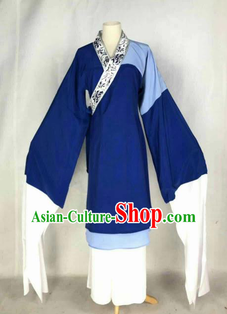 Chinese Traditional Beijing Opera Poor Lady Dress Ancient Beggar Blue Costume for Women