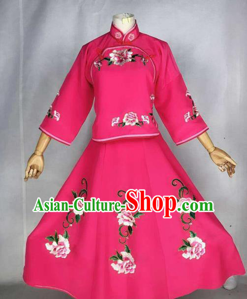 Chinese Traditional Beijing Opera Actress Rosy Dress Ancient Maidservants Embroidered Costume for Women