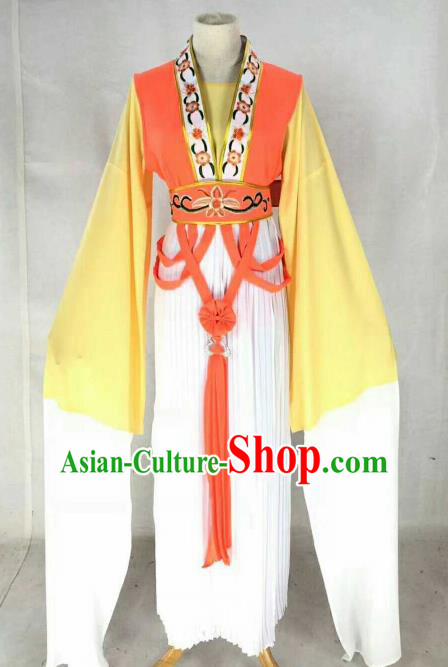 Chinese Traditional Beijing Opera Actress Orange Dress Ancient Maidservants Embroidered Costume for Women