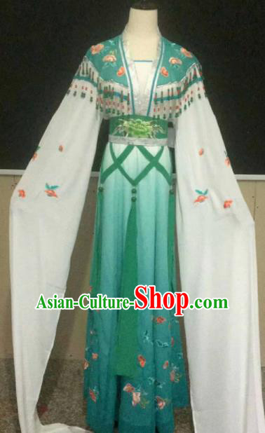 Chinese Traditional Beijing Opera Actress Green Dress Ancient Peri Princess Embroidered Costume for Women