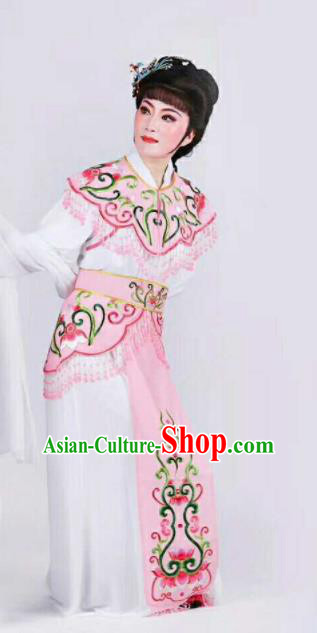 Chinese Traditional Beijing Opera Palace Lady Pink Dress Ancient Peri Princess Embroidered Costume for Women