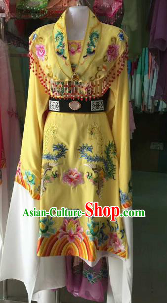 Chinese Traditional Beijing Opera Imperial Concubine Embroidered Yellow Dress Ancient Palace Lady Costume for Women
