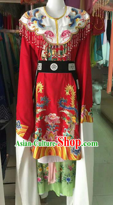 Chinese Traditional Beijing Opera Imperial Concubine Embroidered Red Dress Ancient Palace Lady Costume for Women