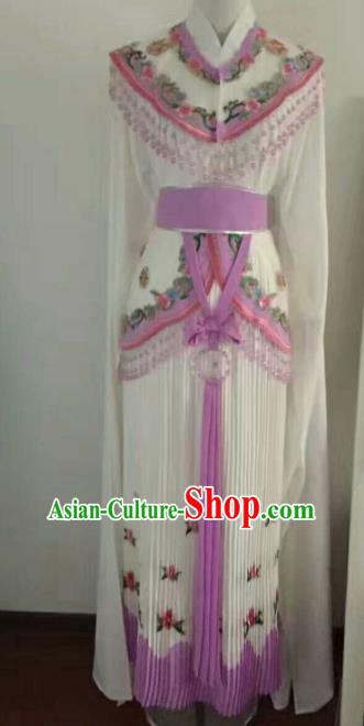Traditional Chinese Peking Opera Diva Embroidered White Dress Ancient Nobility Lady Costume for Women