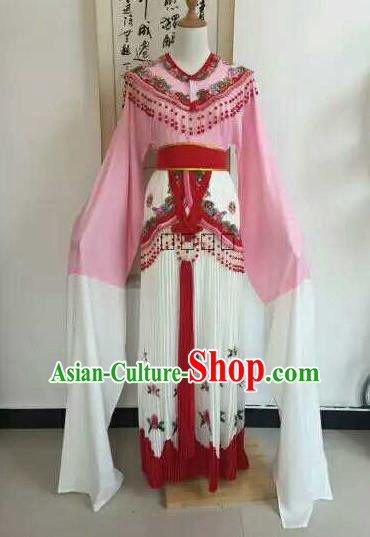 Traditional Chinese Peking Opera Diva Embroidered Pink Dress Ancient Nobility Lady Costume for Women