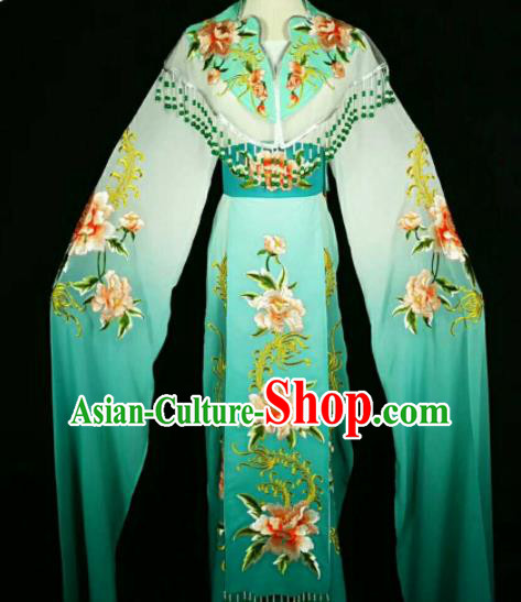 Traditional Chinese Peking Opera Peri Embroidered Peony Green Dress Ancient Court Princess Costume for Women