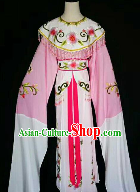 Traditional Chinese Peking Opera Diva Embroidered Peony Pink Dress Ancient Court Princess Costume for Women
