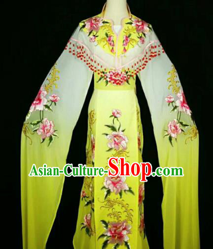 Traditional Chinese Peking Opera Peri Embroidered Peony Yellow Dress Ancient Court Princess Costume for Women