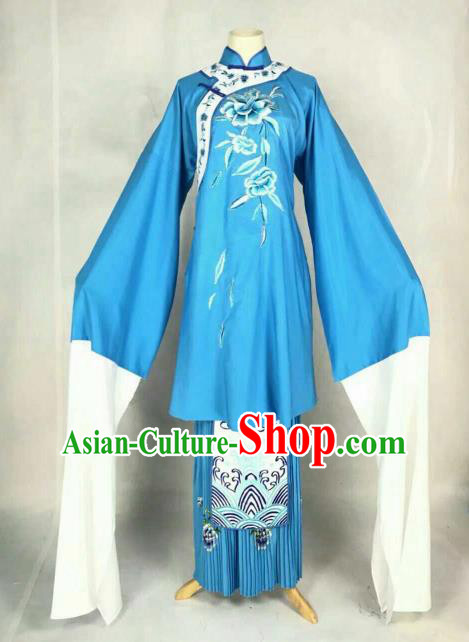 Traditional Chinese Peking Opera Court Maid Embroidered Blue Dress Ancient Maidservants Costume for Women