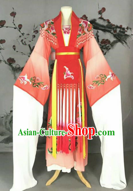 Traditional Chinese Peking Opera Nobility Lady Red Dress Ancient Peri Princess Costume for Women