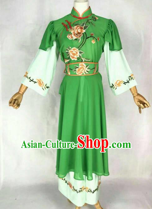 Traditional Chinese Peking Opera Maidservants Embroidered Green Dress Ancient Village Girl Costume for Women
