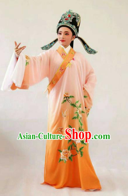 Chinese Traditional Beijing Opera Niche Orange Robe Ancient Nobility Childe Embroidered Costume for Men