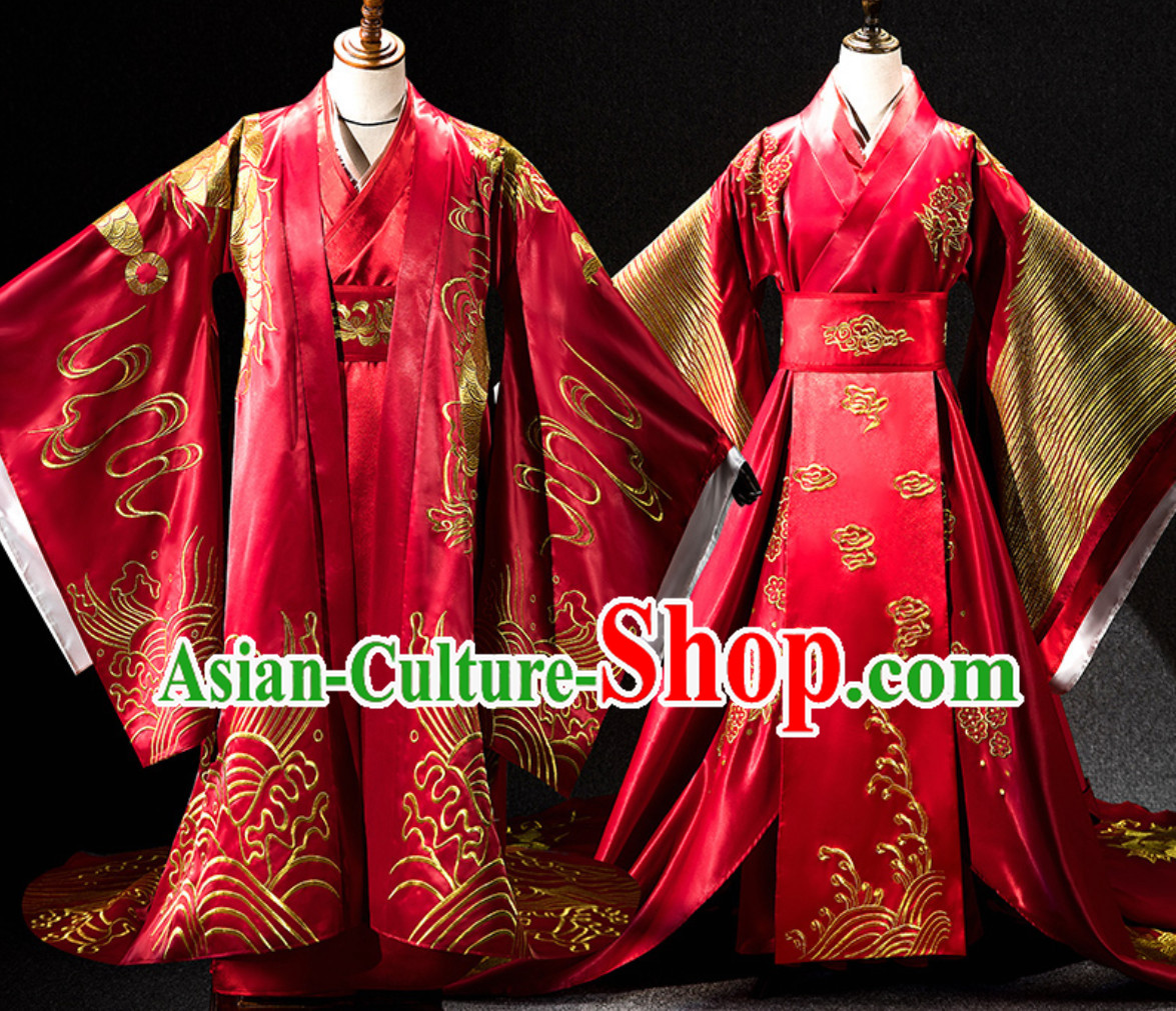 Ancient Chinese Emperor Embroidered Dragon and Empress Embroidered Phoenix Garments 2 Complete Sets