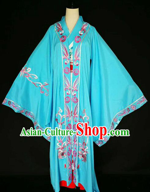 Chinese Traditional Peking Opera Artiste Costume Ancient Queen Embroidered Blue Dress for Women