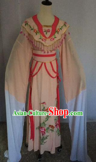 Chinese Traditional Peking Opera Artiste Costume Ancient Court Maid Embroidered Pink Dress for Women