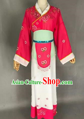 Chinese Ancient Maidservants Embroidered Rosy Dress Traditional Peking Opera Artiste Costume for Women