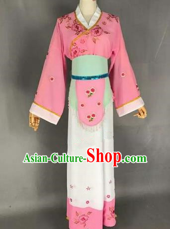 Chinese Ancient Maidservants Embroidered Pink Dress Traditional Peking Opera Artiste Costume for Women