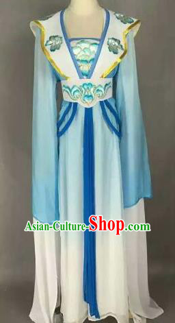 Chinese Ancient Peri Embroidered Blue Dress Traditional Peking Opera Princess Costume for Women